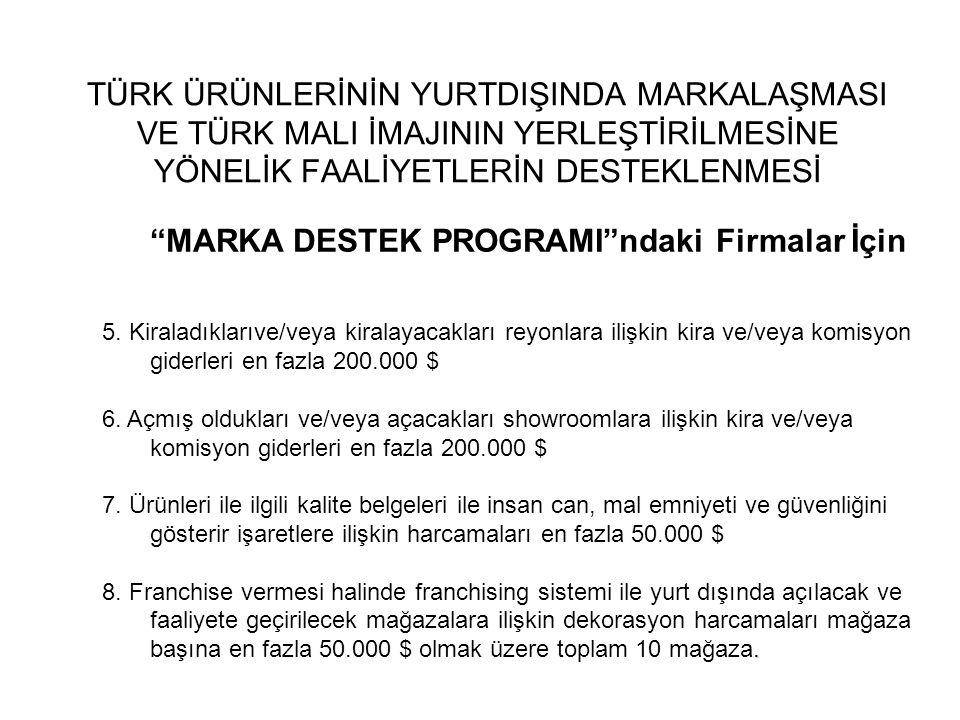 """TÜRK ÜRÜNLERİNİN YURTDIŞINDA MARKALAŞMASI VE TÜRK MALI İMAJININ YERLEŞTİRİLMESİNE YÖNELİK FAALİYETLERİN DESTEKLENMESİ """"MARKA DESTEK PROGRAMI""""ndaki Fir"""