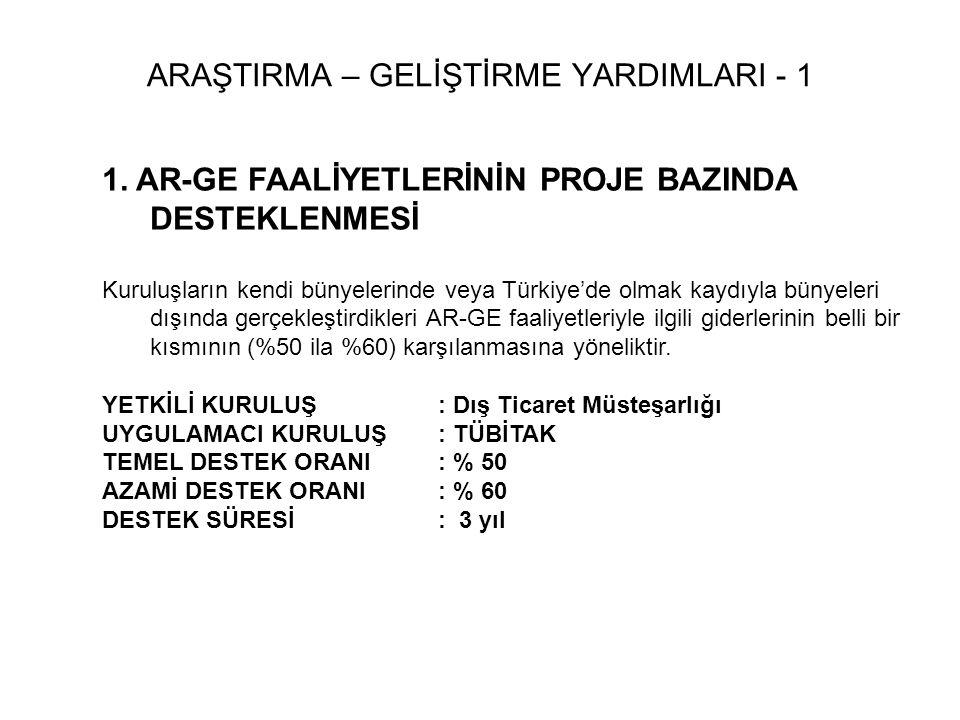 1. AR-GE FAALİYETLERİNİN PROJE BAZINDA DESTEKLENMESİ Kuruluşların kendi bünyelerinde veya Türkiye'de olmak kaydıyla bünyeleri dışında gerçekleştirdikl