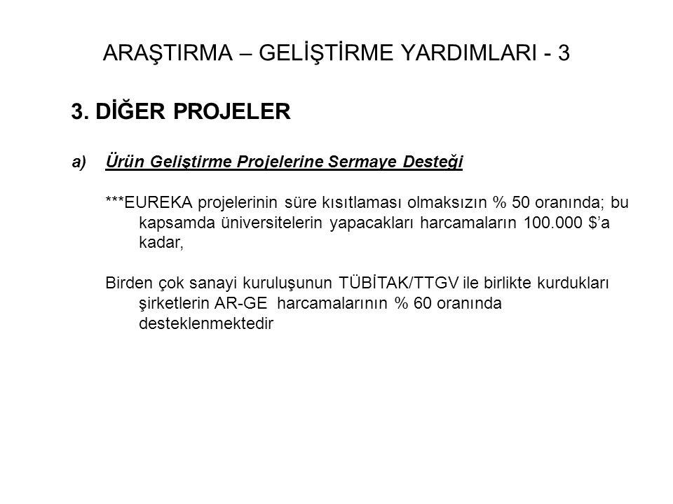 3. DİĞER PROJELER a) a)Ürün Geliştirme Projelerine Sermaye Desteği ***EUREKA projelerinin süre kısıtlaması olmaksızın % 50 oranında; bu kapsamda ünive