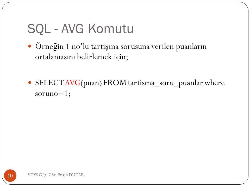 SQL - AVG Komutu  Örne ğ in 1 no'lu tartı ş ma sorusuna verilen puanların ortalamasını belirlemek için;  SELECT AVG(puan) FROM tartisma_soru_puanlar