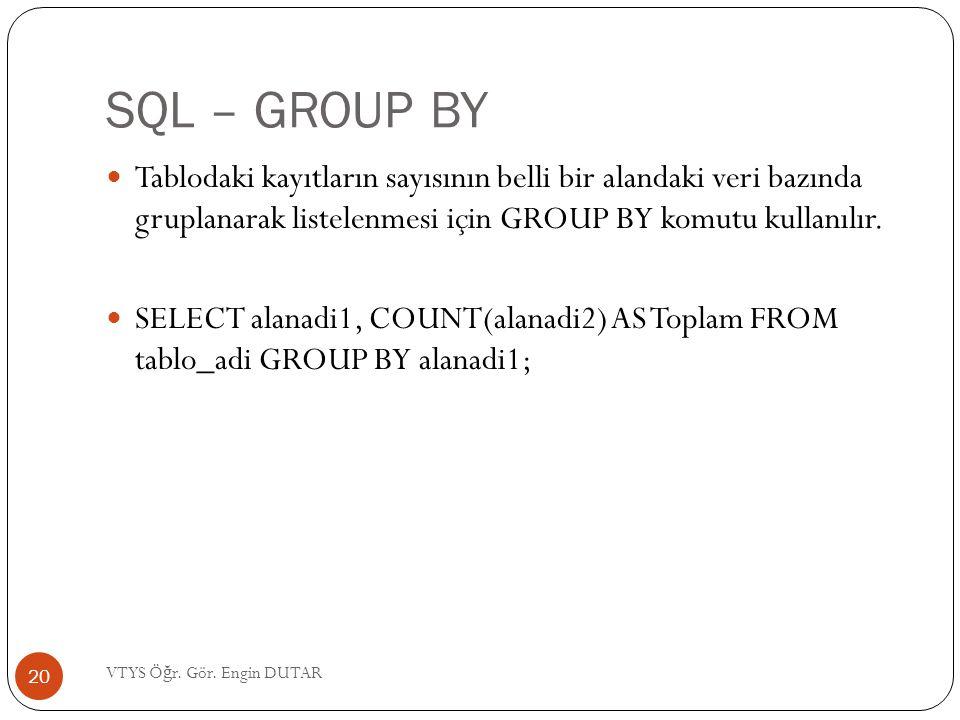 SQL – GROUP BY  Tablodaki kayıtların sayısının belli bir alandaki veri bazında gruplanarak listelenmesi için GROUP BY komutu kullanılır.  SELECT ala