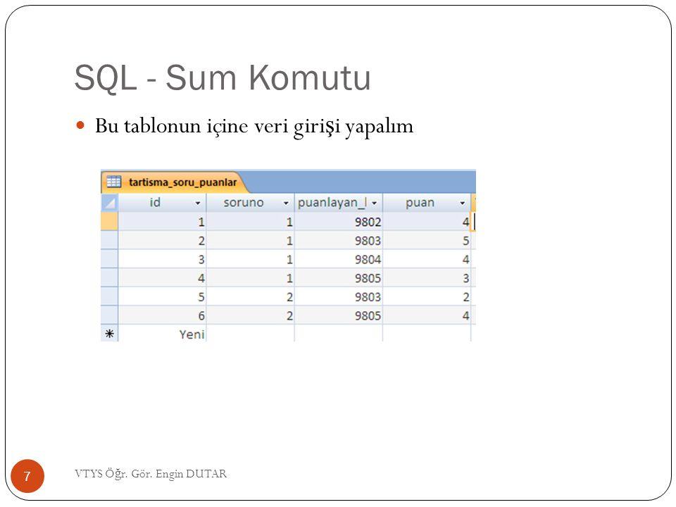 SQL - Sum Komutu  Bu tablonun içine veri giri ş i yapalım 7 VTYS Ö ğ r. Gör. Engin DUTAR
