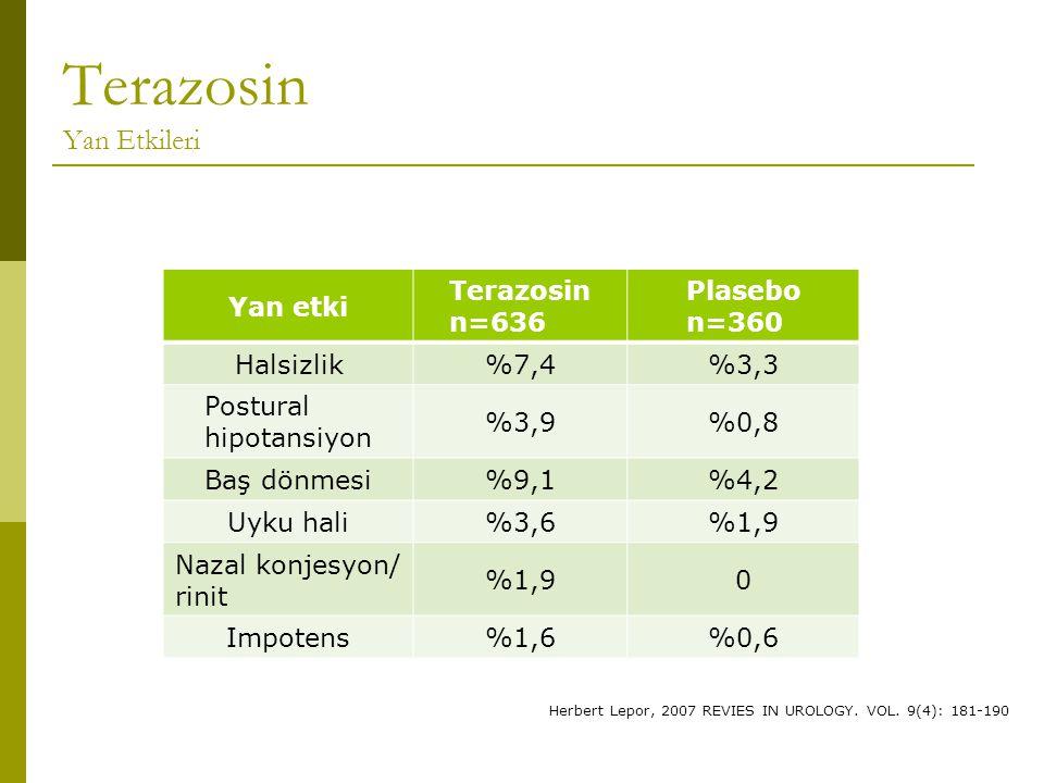 Yan etki Terazosin n=636 Plasebo n=360 Halsizlik%7,4%3,3 Postural hipotansiyon %3,9%0,8 Baş dönmesi%9,1%4,2 Uyku hali%3,6%1,9 Nazal konjesyon/ rinit %