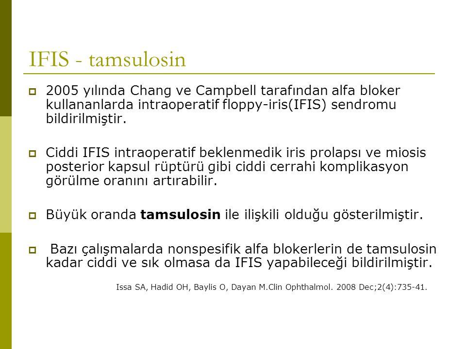 IFIS - tamsulosin  2005 yılında Chang ve Campbell tarafından alfa bloker kullananlarda intraoperatif floppy-iris(IFIS) sendromu bildirilmiştir.  Cid