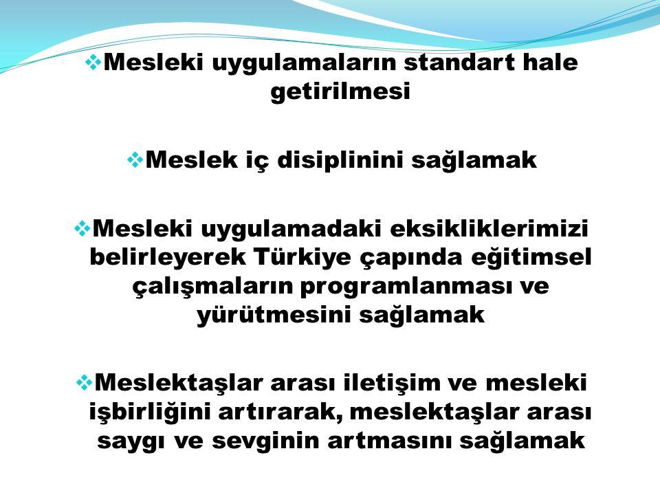  Mesleki uygulamaların standart hale getirilmesi  Meslek iç disiplinini sağlamak  Mesleki uygulamadaki eksikliklerimizi belirleyerek Türkiye çapınd