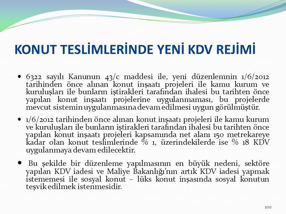 KONUT TESLİMLERİNDE YENİ KDV REJİMİ  6322 sayılı Kanunun 43/c maddesi ile, yeni düzenlemnin 1/6/2012 tarihinden önce alınan konut inşaatı projeleri i