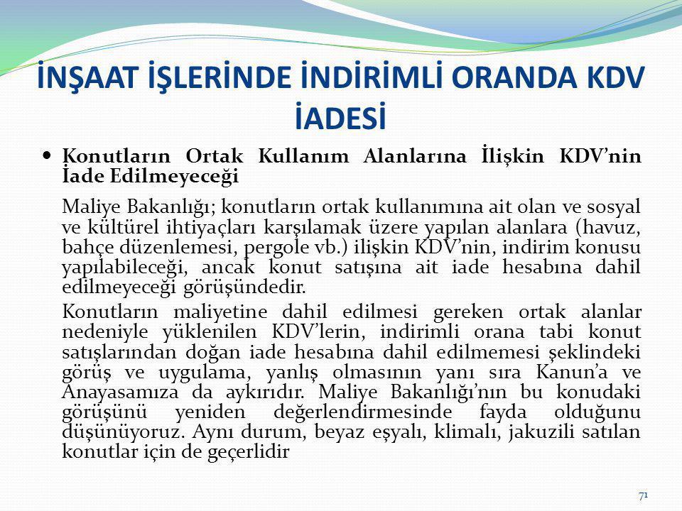 İNŞAAT İŞLERİNDE İNDİRİMLİ ORANDA KDV İADESİ  Konutların Ortak Kullanım Alanlarına İlişkin KDV'nin İade Edilmeyeceği Maliye Bakanlığı; konutların ort
