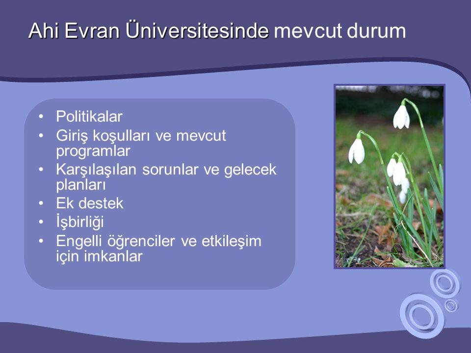 Ahi Evran Üniversitesinde Ahi Evran Üniversitesinde mevcut durum •Politikalar •Giriş koşulları ve mevcut programlar •Karşılaşılan sorunlar ve gelecek