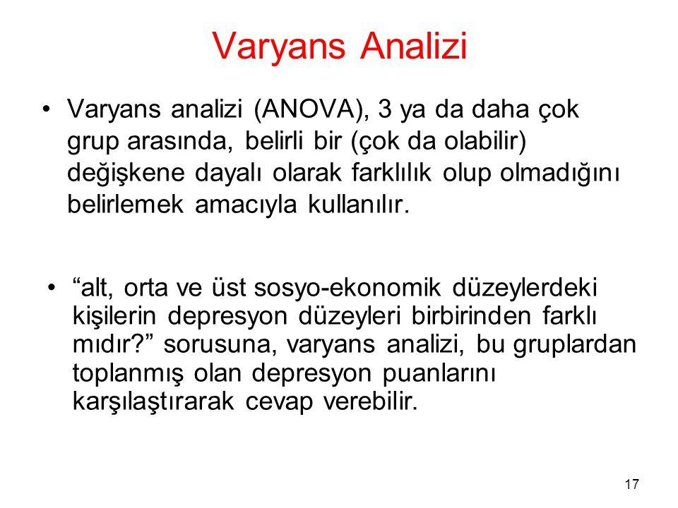 17 Varyans Analizi •Varyans analizi (ANOVA), 3 ya da daha çok grup arasında, belirli bir (çok da olabilir) değişkene dayalı olarak farklılık olup olma
