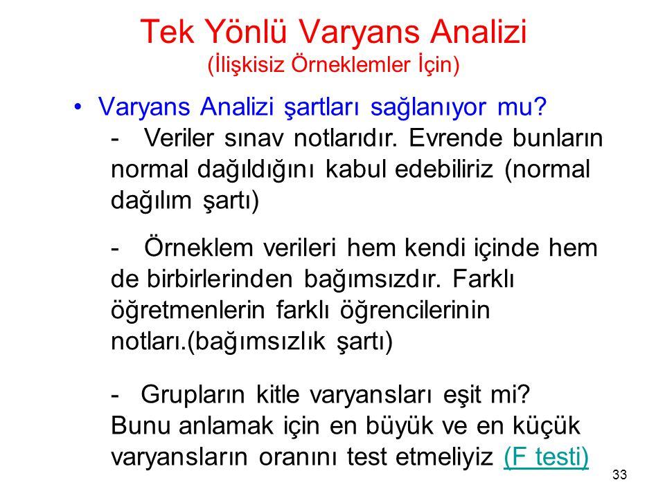 33 Tek Yönlü Varyans Analizi (İlişkisiz Örneklemler İçin) •Varyans Analizi şartları sağlanıyor mu? -Veriler sınav notlarıdır. Evrende bunların normal