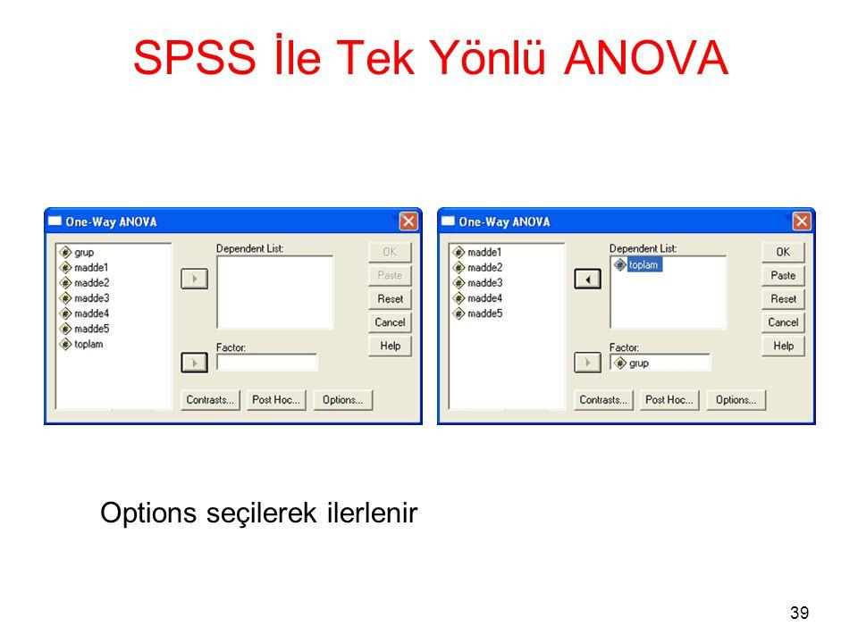 39 SPSS İle Tek Yönlü ANOVA Options seçilerek ilerlenir