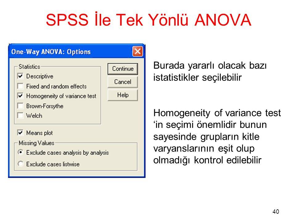 40 SPSS İle Tek Yönlü ANOVA Burada yararlı olacak bazı istatistikler seçilebilir Homogeneity of variance test 'in seçimi önemlidir bunun sayesinde gru