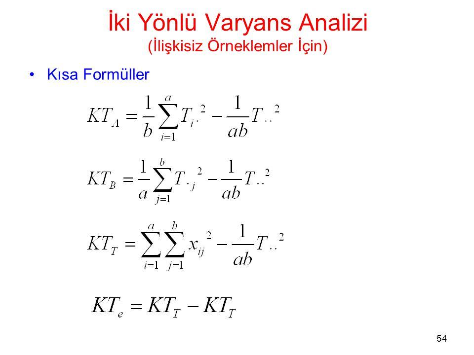 54 İki Yönlü Varyans Analizi (İlişkisiz Örneklemler İçin) •Kısa Formüller