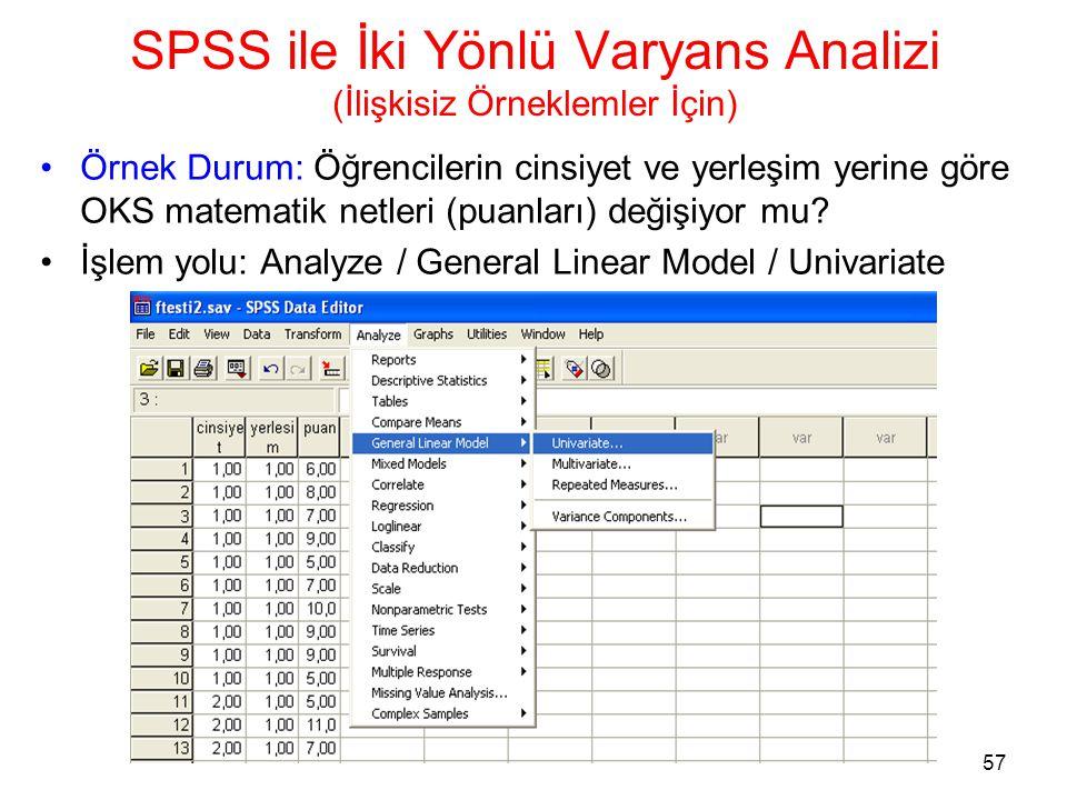 57 SPSS ile İki Yönlü Varyans Analizi (İlişkisiz Örneklemler İçin) •Örnek Durum: Öğrencilerin cinsiyet ve yerleşim yerine göre OKS matematik netleri (