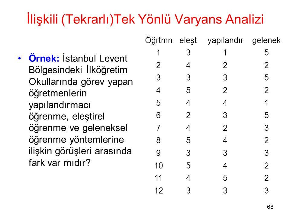 68 İlişkili (Tekrarlı)Tek Yönlü Varyans Analizi •Örnek: İstanbul Levent Bölgesindeki İlköğretim Okullarında görev yapan öğretmenlerin yapılandırmacı ö