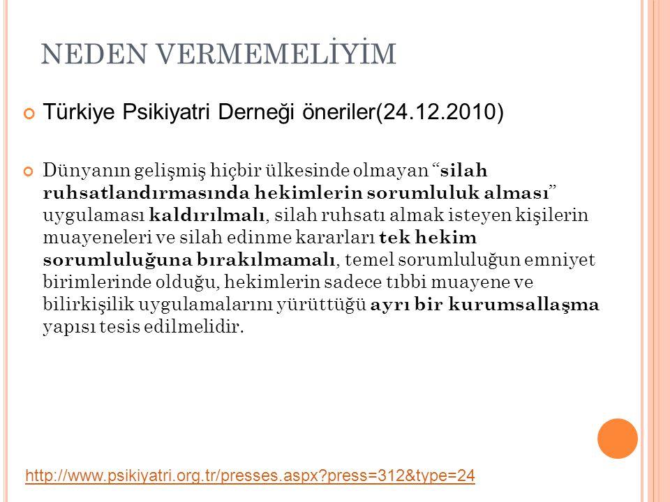 """NEDEN VERMEMELİYİM Türkiye Psikiyatri Derneği öneriler(24.12.2010) Dünyanın gelişmiş hiçbir ülkesinde olmayan """" silah ruhsatlandırmasında hekimlerin s"""
