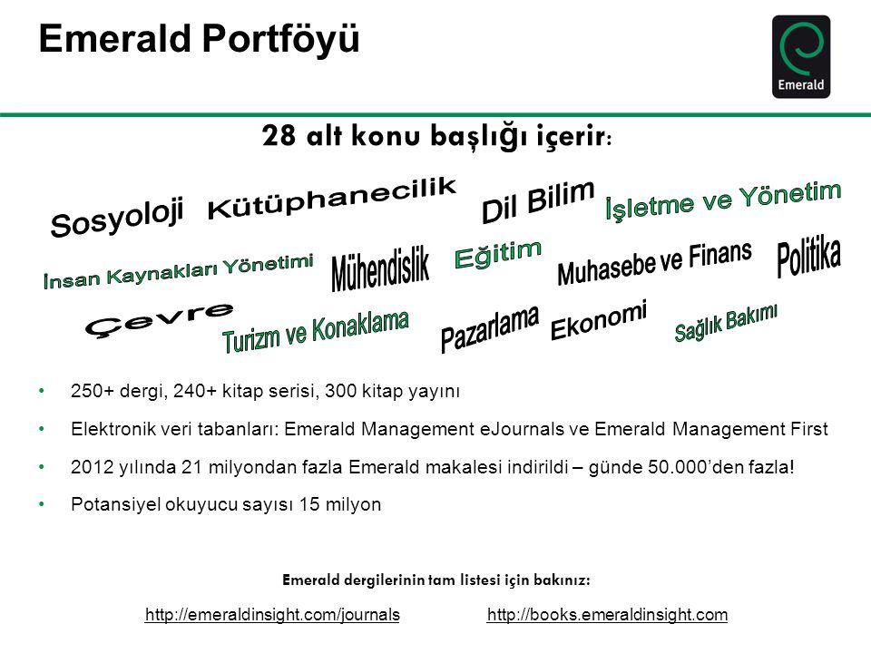 Emerald Portföyü 28 alt konu başlı ğ ı içerir : •250+ dergi, 240+ kitap serisi, 300 kitap yayını •Elektronik veri tabanları: Emerald Management eJourn