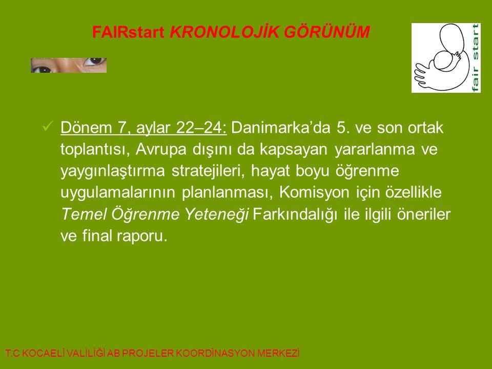  Dönem 7, aylar 22–24: Danimarka'da 5. ve son ortak toplantısı, Avrupa dışını da kapsayan yararlanma ve yaygınlaştırma stratejileri, hayat boyu öğren