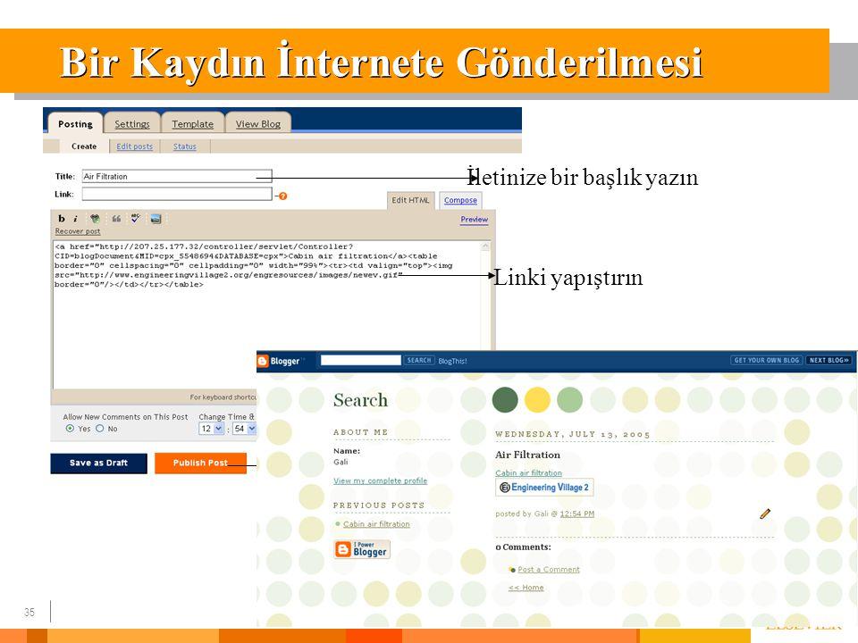 35 Bir Kaydın İnternete Gönderilmesi İletinize bir başlık yazın Linki yapıştırın Publish