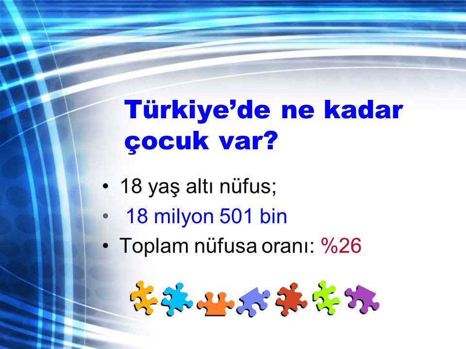 Türkiye'de ne kadar çocuk var? •18 yaş altı nüfus; • 18 milyon 501 bin •Toplam nüfusa oranı: %26