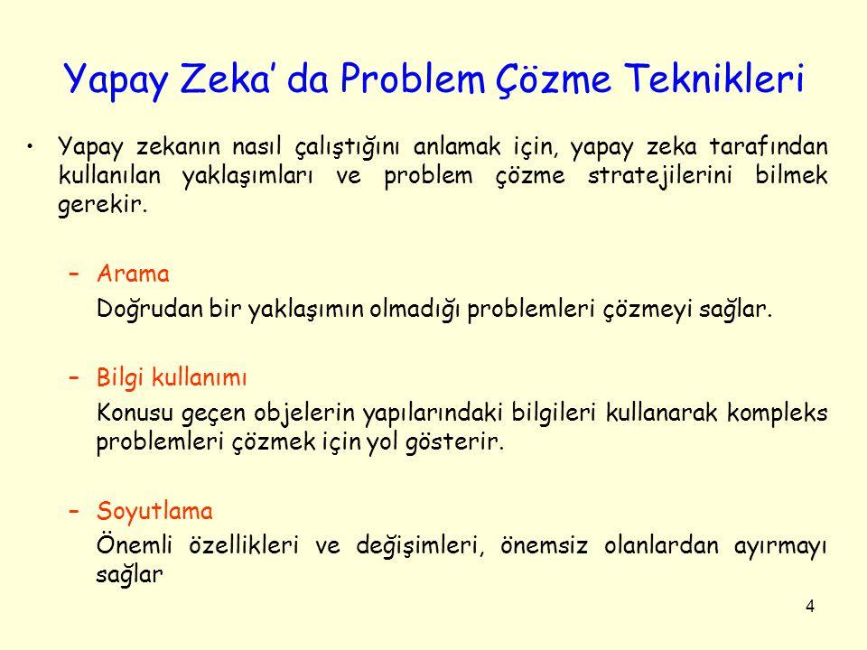 4 Yapay Zeka' da Problem Çözme Teknikleri •Yapay zekanın nasıl çalıştığını anlamak için, yapay zeka tarafından kullanılan yaklaşımları ve problem çözm