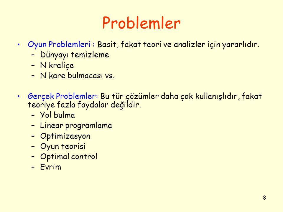 8 Problemler •Oyun Problemleri : Basit, fakat teori ve analizler için yararlıdır. –Dünyayı temizleme –N kraliçe –N kare bulmacası vs. •Gerçek Probleml