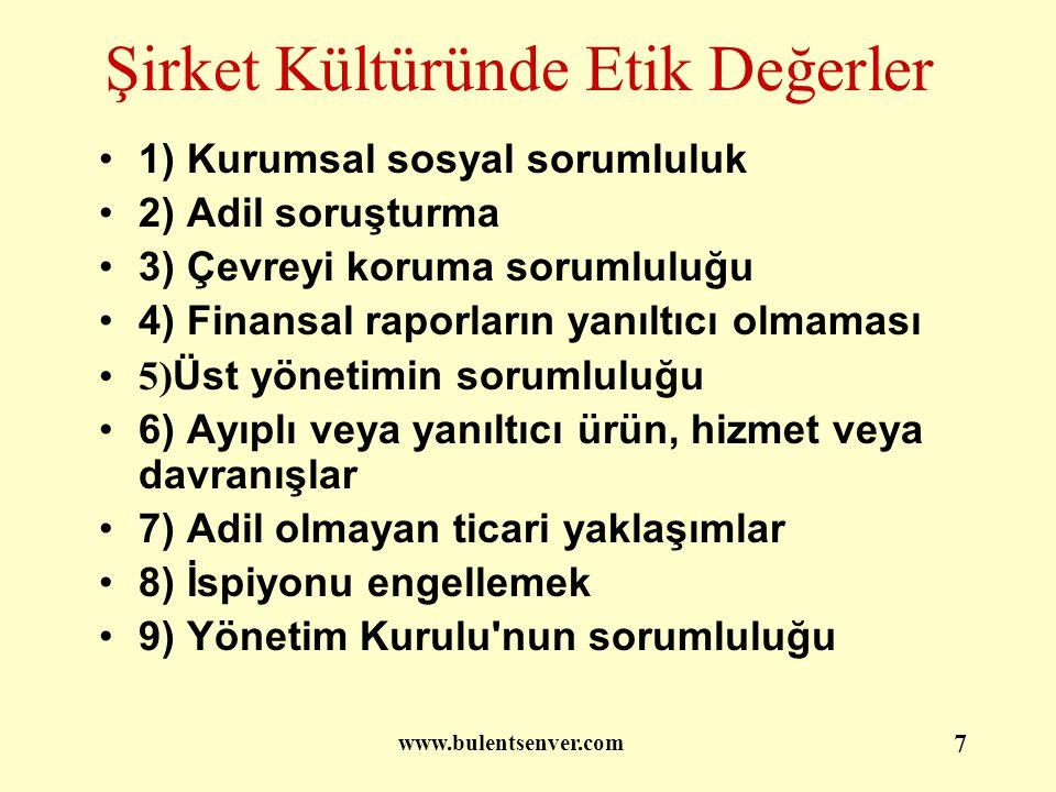 www.bulentsenver.com 8 Bankacılık Etik İlkeleri (BETİL)
