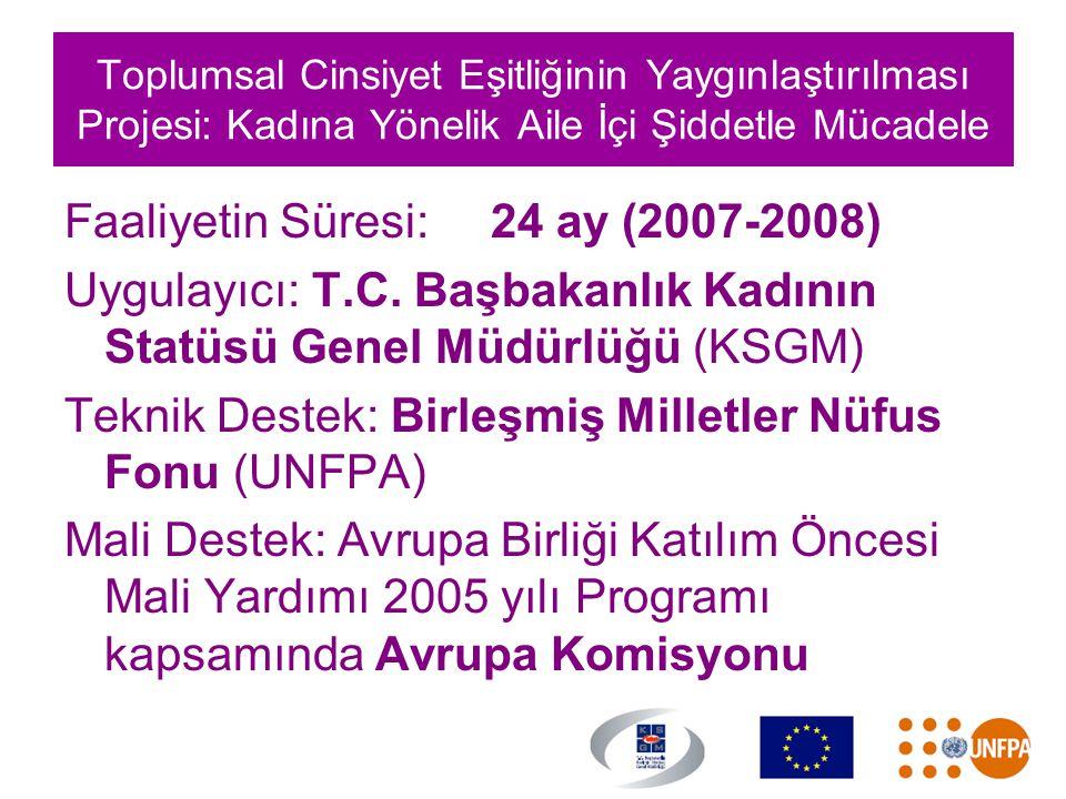 Toplumsal Cinsiyet Eşitliğinin Yaygınlaştırılması Projesi: Kadına Yönelik Aile İçi Şiddetle Mücadele Faaliyetin Süresi:24 ay (2007-2008) Uygulayıcı: T