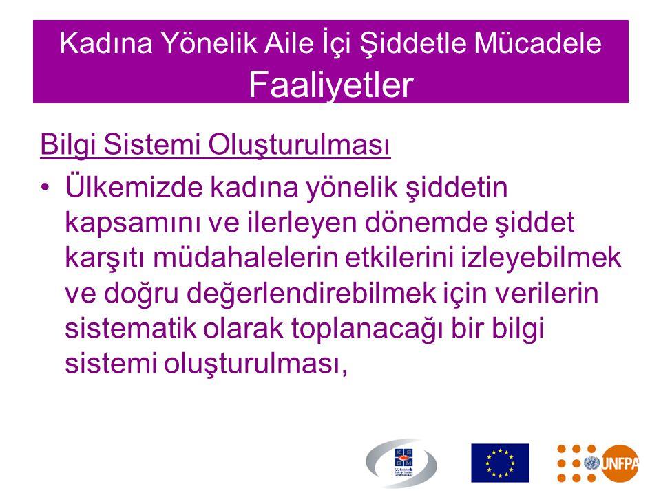 Kadına Yönelik Aile İçi Şiddetle Mücadele Faaliyetler Bilgi Sistemi Oluşturulması •Ülkemizde kadına yönelik şiddetin kapsamını ve ilerleyen dönemde şi