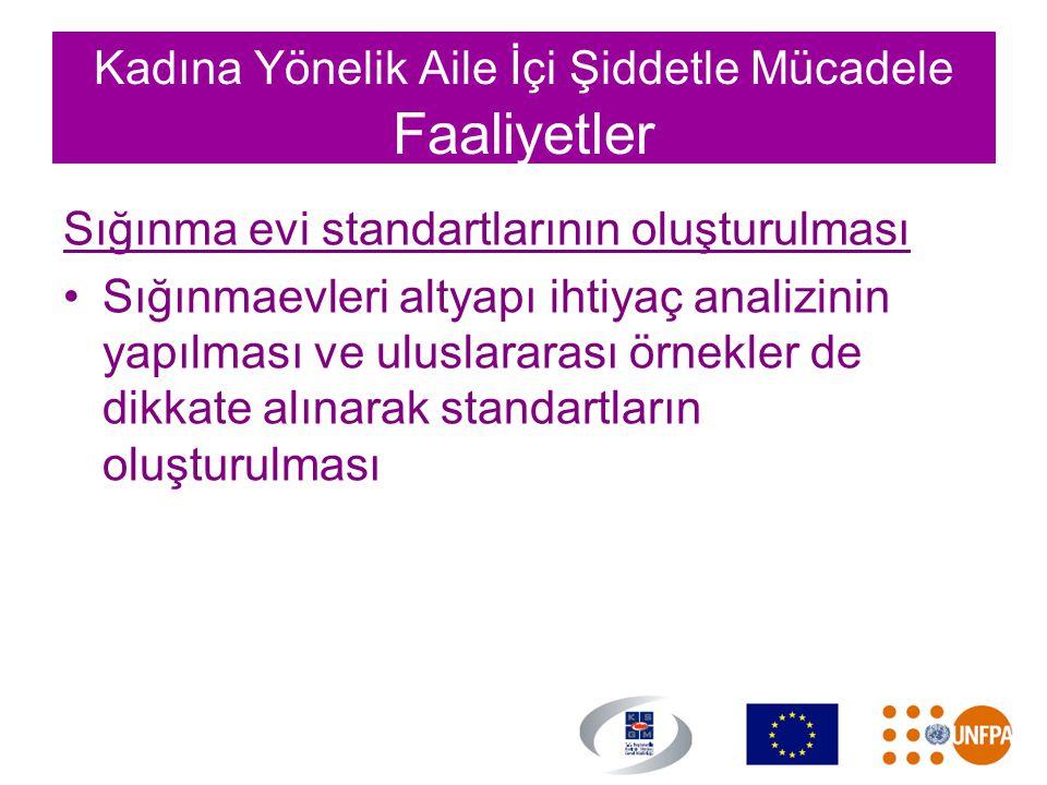 Kadına Yönelik Aile İçi Şiddetle Mücadele Faaliyetler Sığınma evi standartlarının oluşturulması •Sığınmaevleri altyapı ihtiyaç analizinin yapılması ve