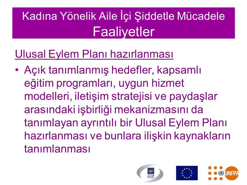 Kadına Yönelik Aile İçi Şiddetle Mücadele Faaliyetler Ulusal Eylem Planı hazırlanması •Açık tanımlanmış hedefler, kapsamlı eğitim programları, uygun h