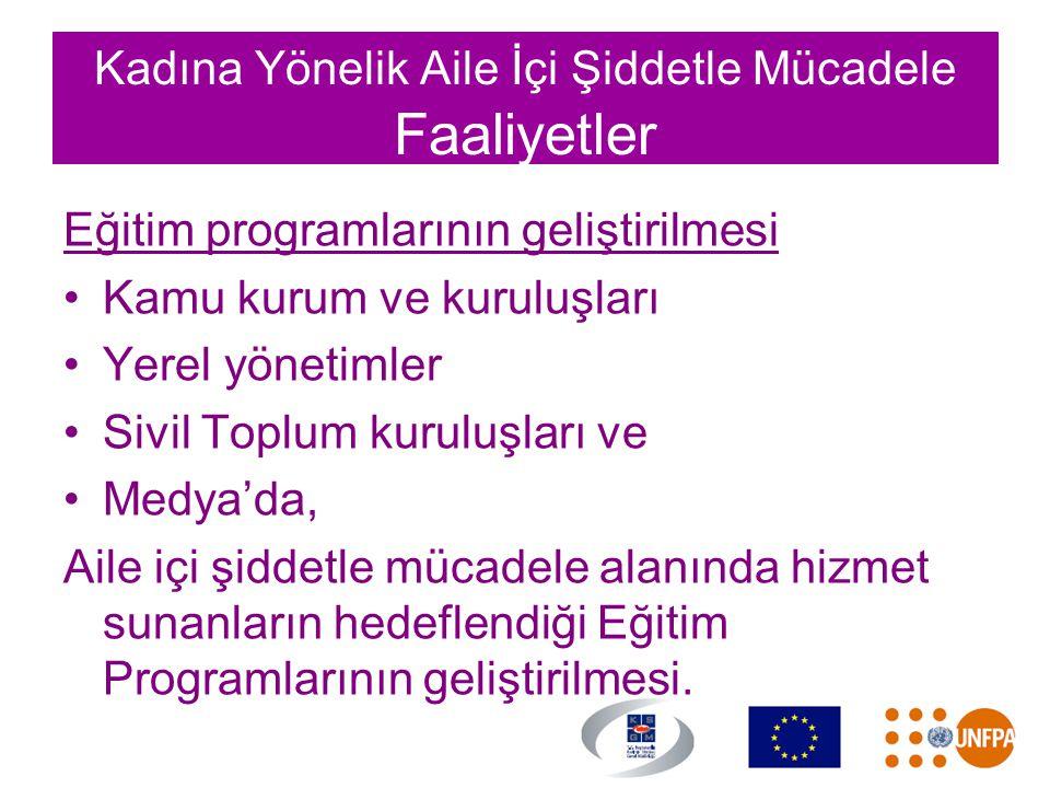 Kadına Yönelik Aile İçi Şiddetle Mücadele Faaliyetler Eğitim programlarının geliştirilmesi •Kamu kurum ve kuruluşları •Yerel yönetimler •Sivil Toplum