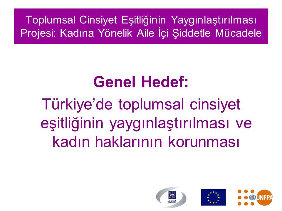 Toplumsal Cinsiyet Eşitliğinin Yaygınlaştırılması Projesi: Kadına Yönelik Aile İçi Şiddetle Mücadele Genel Hedef: Türkiye'de toplumsal cinsiyet eşitli