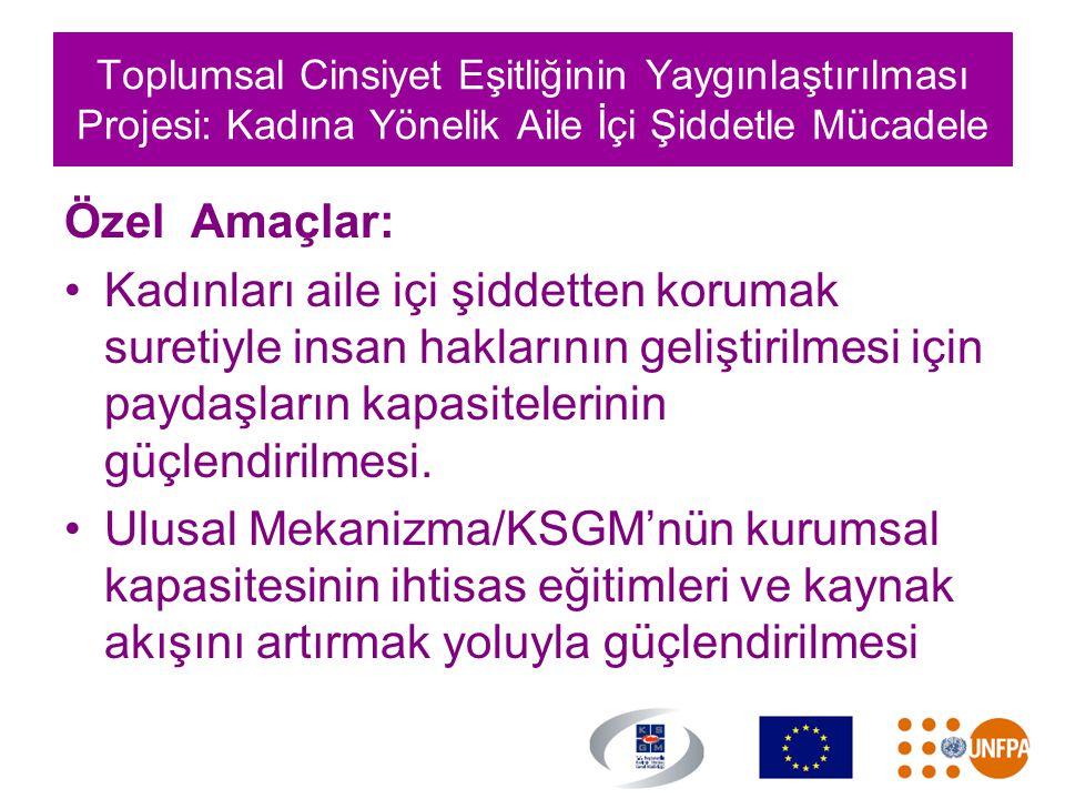 Toplumsal Cinsiyet Eşitliğinin Yaygınlaştırılması Projesi: Kadına Yönelik Aile İçi Şiddetle Mücadele Özel Amaçlar: •Kadınları aile içi şiddetten korum