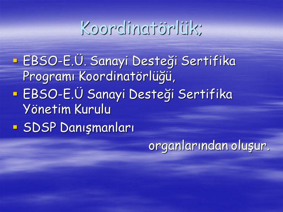 Koordinatörlük;  EBSO-E.Ü. Sanayi Desteği Sertifika Programı Koordinatörlüğü,  EBSO-E.Ü Sanayi Desteği Sertifika Yönetim Kurulu  SDSP Danışmanları