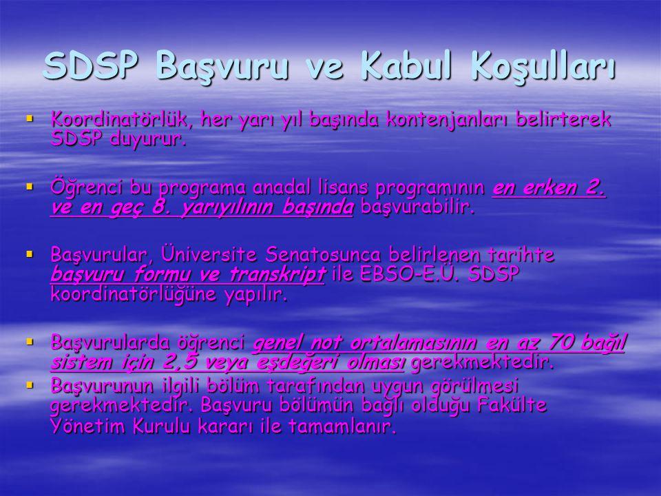 SDSP Başvuru ve Kabul Koşulları  Koordinatörlük, her yarı yıl başında kontenjanları belirterek SDSP duyurur.  Öğrenci bu programa anadal lisans prog