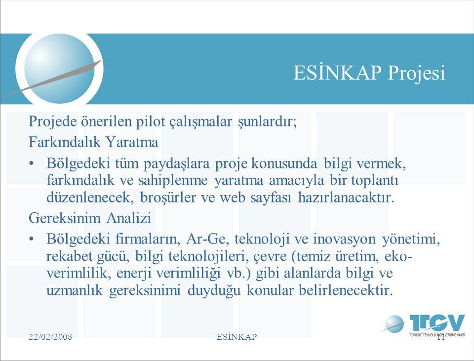 22/02/2008ESİNKAP11 ESİNKAP Projesi Projede önerilen pilot çalışmalar şunlardır; Farkındalık Yaratma •Bölgedeki tüm paydaşlara proje konusunda bilgi v