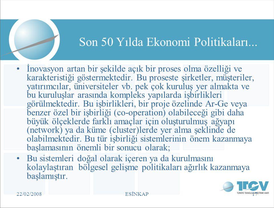 22/02/2008ESİNKAP17 Son 50 Yılda Ekonomi Politikaları... •İnovasyon artan bir şekilde açık bir proses olma özelliği ve karakteristiği göstermektedir.