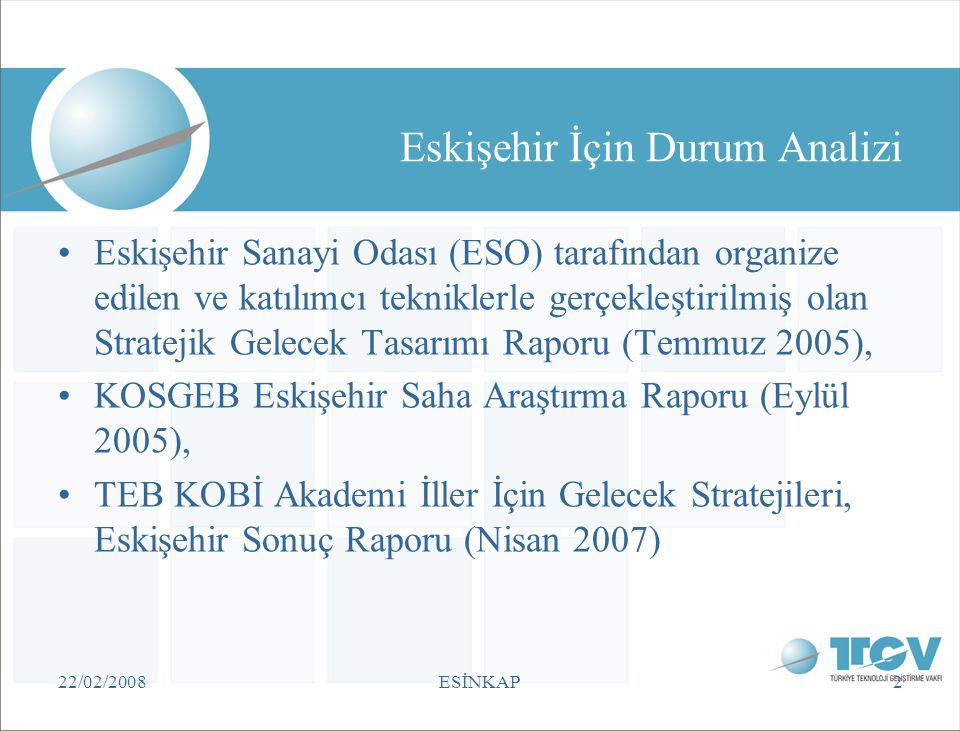 22/02/2008ESİNKAP2 Eskişehir İçin Durum Analizi •Eskişehir Sanayi Odası (ESO) tarafından organize edilen ve katılımcı tekniklerle gerçekleştirilmiş ol