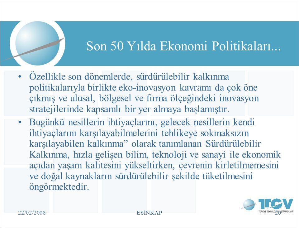 22/02/2008ESİNKAP20 Son 50 Yılda Ekonomi Politikaları... •Özellikle son dönemlerde, sürdürülebilir kalkınma politikalarıyla birlikte eko-inovasyon kav