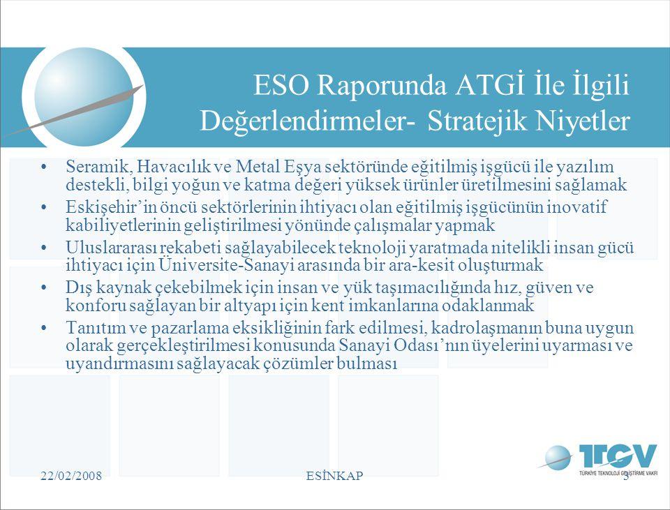 22/02/2008ESİNKAP3 ESO Raporunda ATGİ İle İlgili Değerlendirmeler- Stratejik Niyetler •Seramik, Havacılık ve Metal Eşya sektöründe eğitilmiş işgücü il