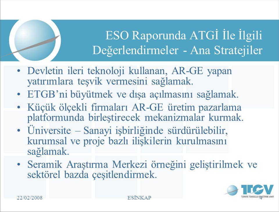 22/02/2008ESİNKAP5 ESO Raporunda ATGİ İle İlgili Değerlendirmeler - Ana Stratejiler •Sanayinin ihtiyacını karşılayacak inovatif düşünceye sahip eleman yetiştirilmesi konusunda çalışmalar yapmak.
