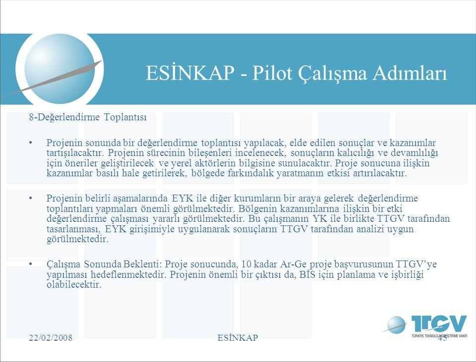 22/02/2008ESİNKAP45 ESİNKAP - Pilot Çalışma Adımları 8-Değerlendirme Toplantısı •Projenin sonunda bir değerlendirme toplantısı yapılacak, elde edilen