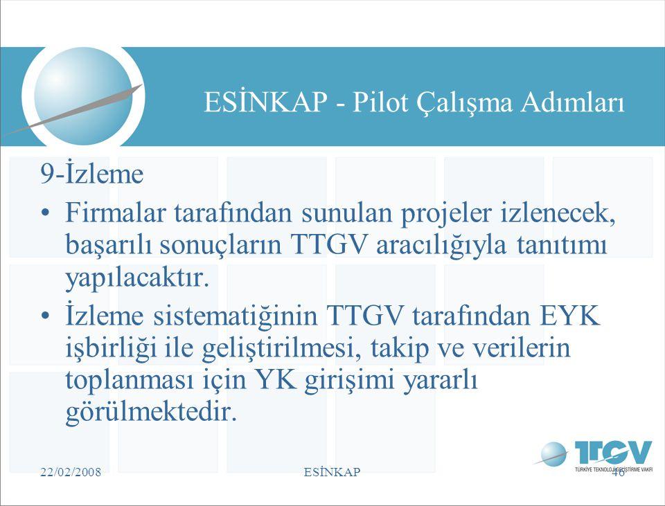 22/02/2008ESİNKAP46 ESİNKAP - Pilot Çalışma Adımları 9-İzleme •Firmalar tarafından sunulan projeler izlenecek, başarılı sonuçların TTGV aracılığıyla t