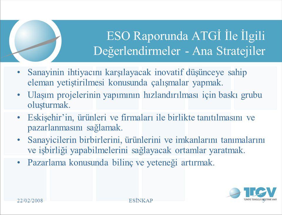 22/02/2008ESİNKAP36 Türkiye'deki Mevcut Durum ve Bakış Açısı •Öncelikler (BTYK, TÜBİTAK, Vizyon 2023): –Temiz üretim teknolojileri –Enerji teknolojileri –Çevre teknolojileri –Üretim süreç ve teknolojileri –Yenilenebilir enerji teknolojileri –Atık azaltımı ve geri kazanım –Uygun atık bertarafı