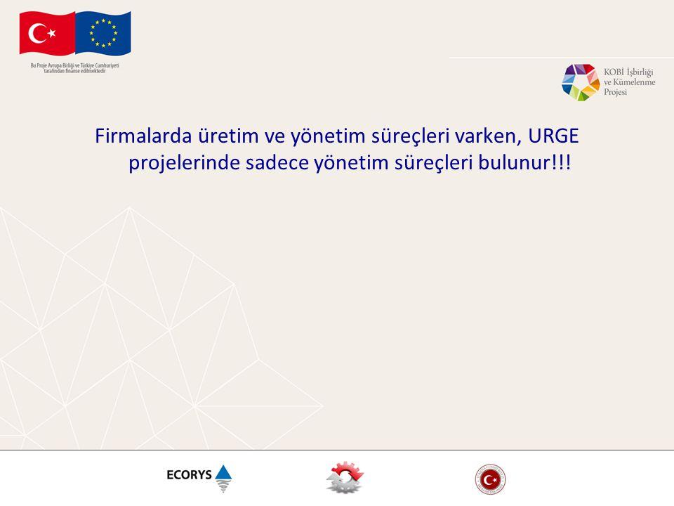 Firmalarda üretim ve yönetim süreçleri varken, URGE projelerinde sadece yönetim süreçleri bulunur!!!