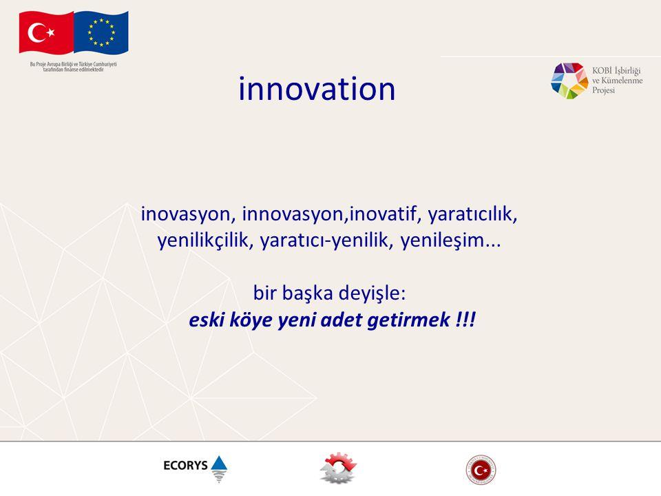 innovation inovasyon, innovasyon,inovatif, yaratıcılık, yenilikçilik, yaratıcı-yenilik, yenileşim... bir başka deyişle: eski köye yeni adet getirmek !