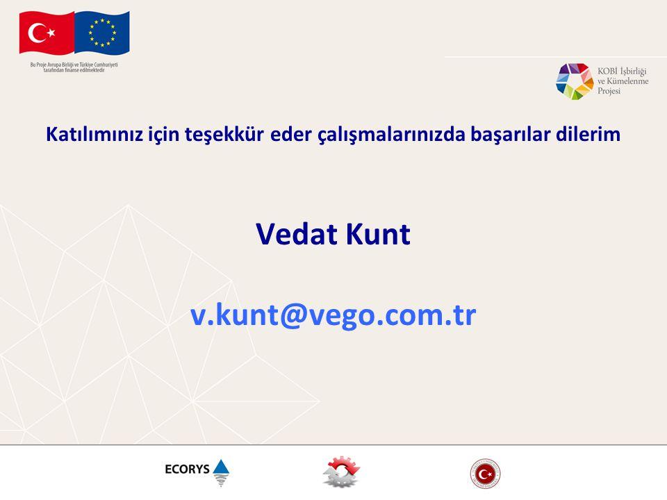 Katılımınız için teşekkür eder çalışmalarınızda başarılar dilerim Vedat Kunt v.kunt@vego.com.tr