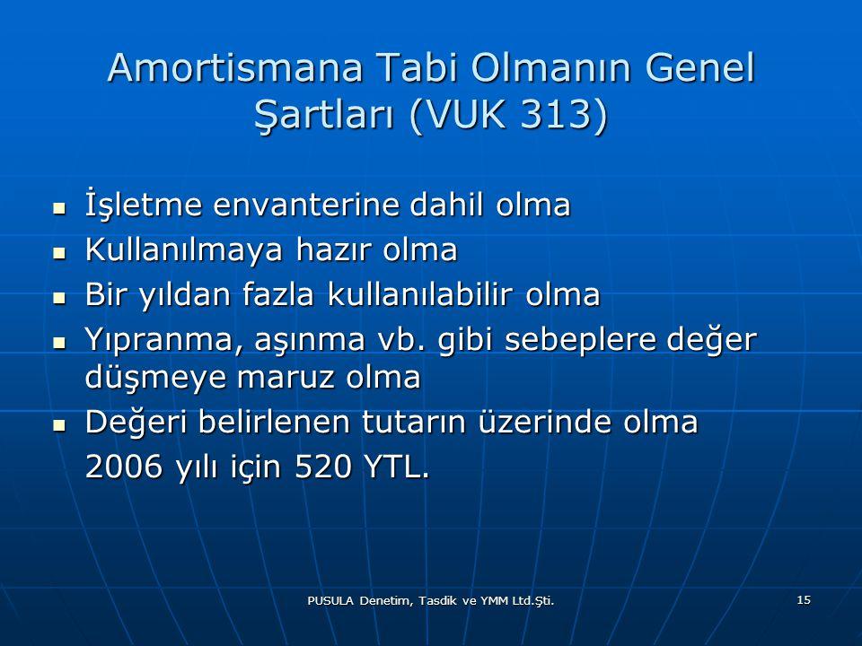 PUSULA Denetim, Tasdik ve YMM Ltd.Şti. 15 Amortismana Tabi Olmanın Genel Şartları (VUK 313)  İşletme envanterine dahil olma  Kullanılmaya hazır olma