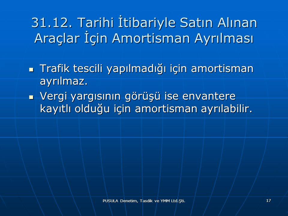 PUSULA Denetim, Tasdik ve YMM Ltd.Şti. 17 31.12. Tarihi İtibariyle Satın Alınan Araçlar İçin Amortisman Ayrılması  Trafik tescili yapılmadığı için am